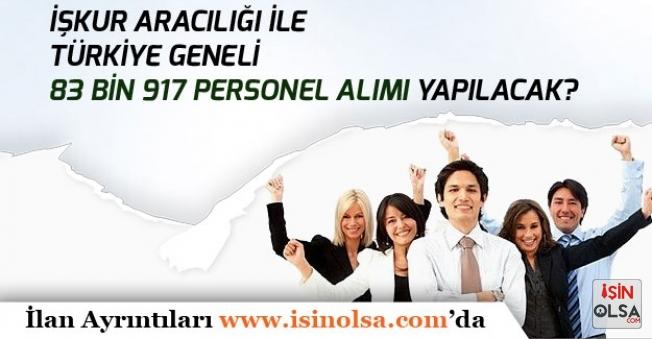 İŞKUR Üzerinden Türkiye Geneli 83 Bin 917 İşçi, Memur ve Personel Alınacak!  Lise, Ön Lisans, Lisans