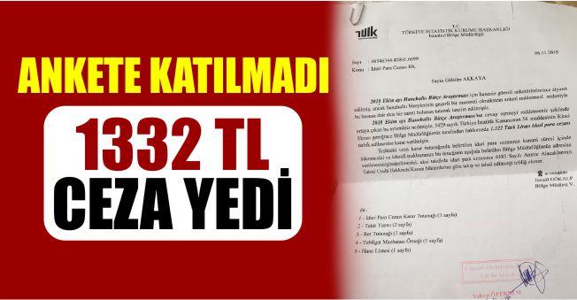 TÜİK Anketine Katılmadı 1332 Lira Ceza Yedi!