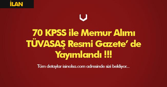 TÜVASAŞ 70 KPSS ile Memur Alımı Yapacak! İlan Yayımlandı