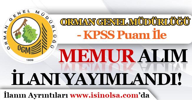 Orman Genel Müdürlüğü ( OGM ) Memur Alım İlanı Yayımlandı! KPSS İle