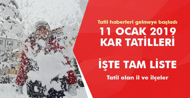 11 Ocak 2019 Kar Tatili İlan Edilen İl ve İlçeler! Tatil Haberleri Gelmeye Başladı