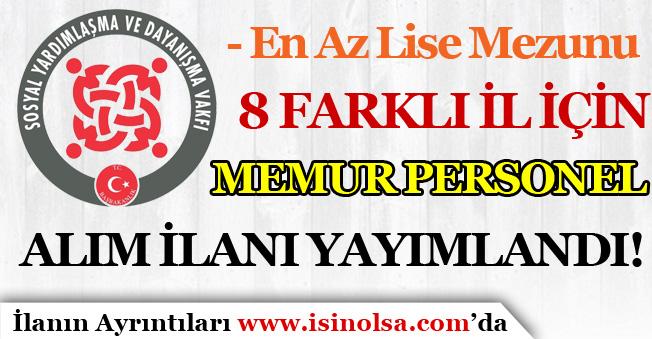 8 İl İçin Yeni SYDV Memur Personel Alım İlanları Yayımlandı! ( İstanbul'da Dahil )