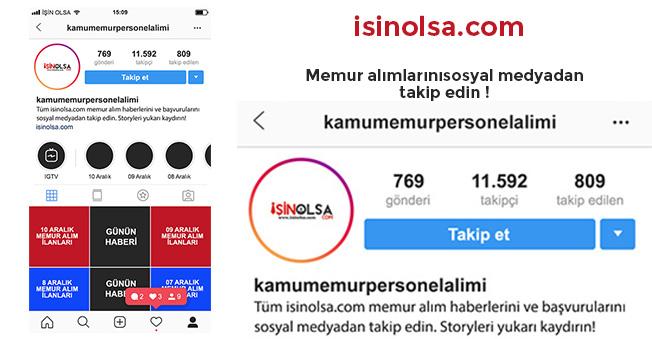 Memur Alımlarını Instagram' dan Takip Edin! İşin Olsa İlanları Sosyal Medyada