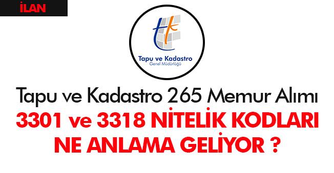 Tapu ve Kadastro 265 Memur Alımında 3301 ve 3318 Nitelik Kodları Karmaşası - KPSS 2019/3