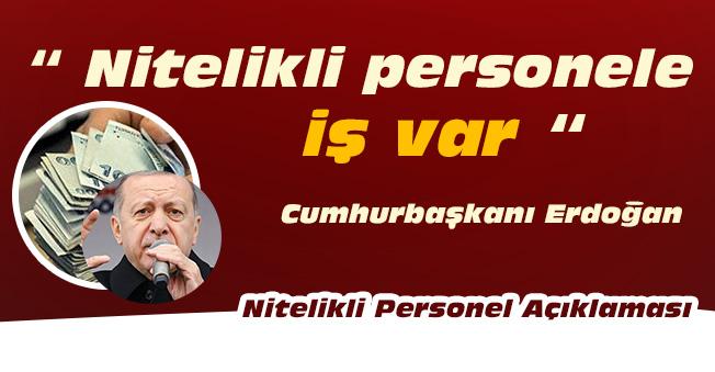 """Cumhurbaşkanı Erdoğan: """" Nitelikli personele iş var """""""