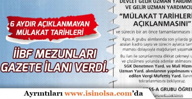 KPSS A Grubu Memur Adayları Kadro ve Atama Sorunların Çözümü İçin Gazete İlanı Verdi