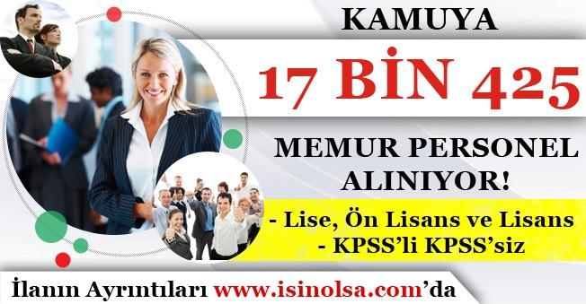 Lise, Ön Lisans ve Lisans Mezunu Kamuya 17 Bin 425 Memur Personel Alınıyor! KPSS'li KPSS'siz
