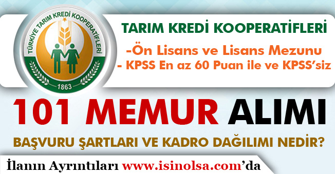 Tarım Kredi KPSS'siz ve KPSS 60 Puan İle 101 Memur Alımı Başvuru Şartları ve Kadroları Nedir?