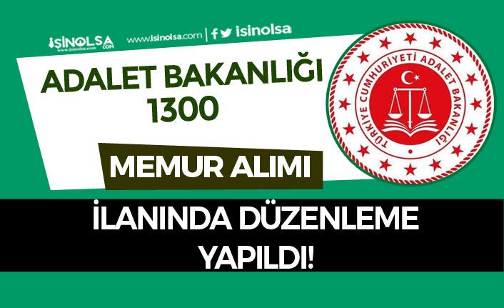 Adalet Bakanlığı 1300 Memur Alımı İlanı Güncellendi!