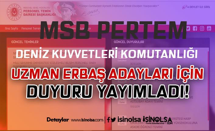 MSB PERTEM'den DKK Uzman Erbaş Duyurusu Geldi!