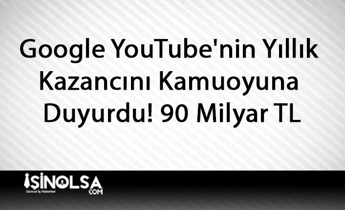 Google YouTube'nin Yıllık Kazancını Kamuoyuna Duyurdu! 90 Milyar TL