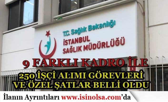 İstanbul İl Sağlık Müdürlüğü 250 İşçi Alımı Kadrosuna Göre Görev ve Özel Şartlar