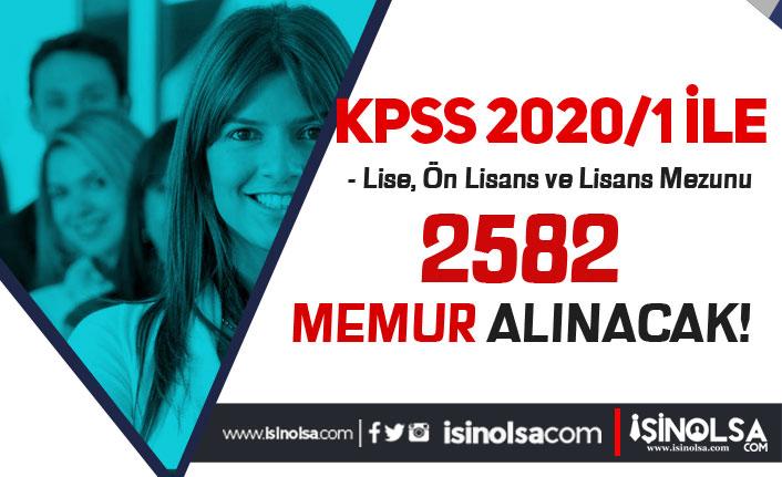 KPSS 2020/1 Tercihleri İle 2582 Memur Alınacak! Lise, Ön Lisans ve Lisans