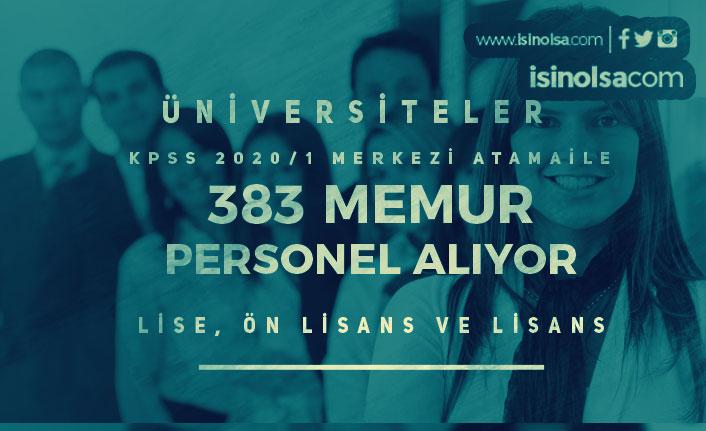 Merkezi Yerleştirme İle Üniversitelere 383 Memur Personel Alınıyor