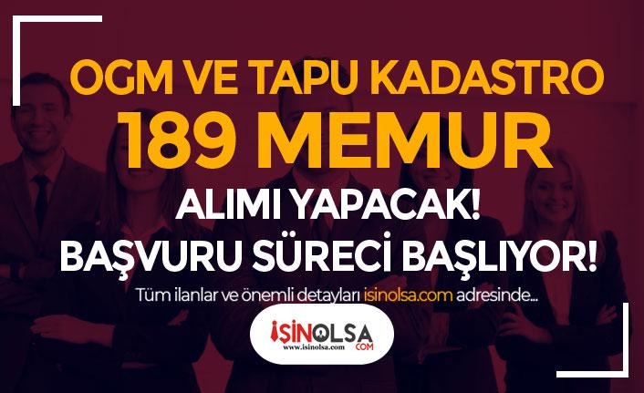 OGM ve Tapu Kadastro 189 Tekniker ve Büro Memuru Alımı Başlıyor!