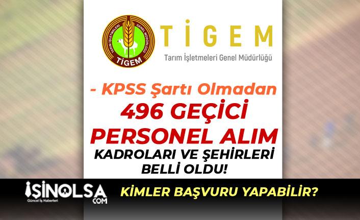 Tarım İşletmeleri KPSS Siz 496 Geçici İşçi Personel Alımı Kadro Dağılımı