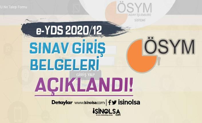 ÖSYM e- YDS 2020/12 Sınav Giriş Belgelerini Yayımladı!