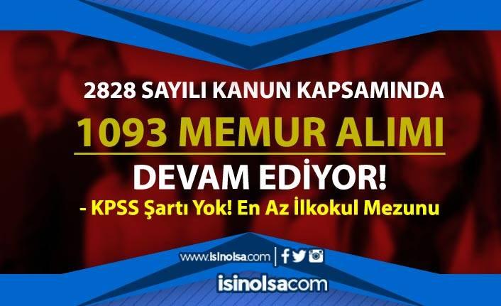 2828 Sayılı Sosyal Hizmetler Kanunu ile 1093 KPSS Siz Memur Alımı Devam Ediyor
