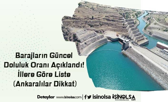 Barajların Güncel Doluluk Oranı Açıklandı! İllere Göre Liste (Ankaralılar Dikkat)