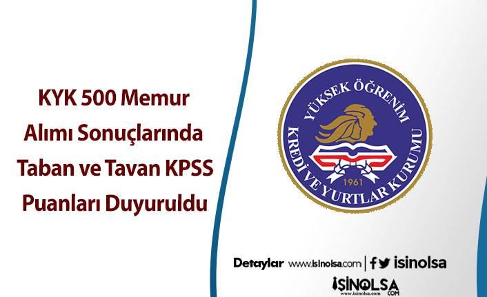 KYK 500 Memur Alımı Sonuçlarında KPSS Taban ve Tavan Puanları Duyuruldu