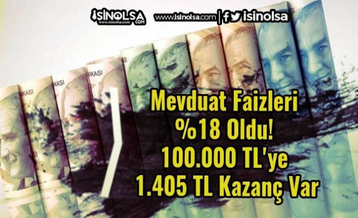 Mevduat Faizleri %18 Oldu! 100.000 TL'ye 1.405 TL Kazanç Var