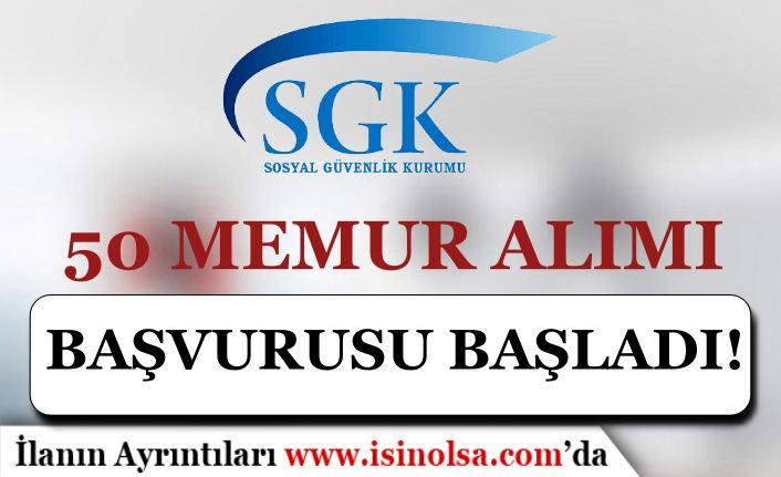 SGK 50 Sosyal Güvenlik Denetmen Yardımcısı ( Memur ) Alımı Başladı!