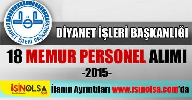 Diyanet İşleri Başkanlığı Memur Personel Alımı 2015