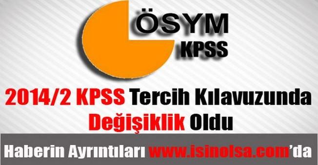 2014/2 KPSS Tercih Kılavuzunda Değişiklik Oldu