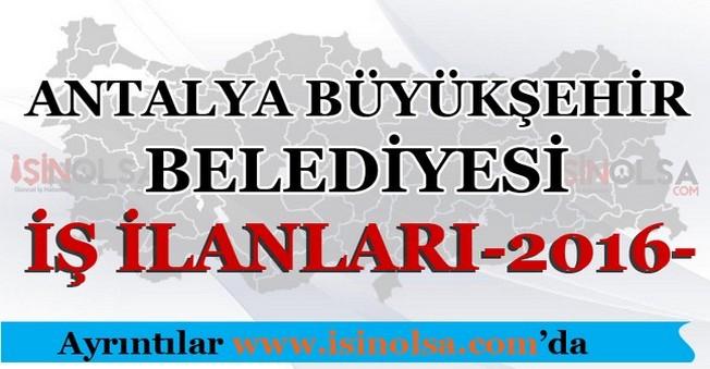 Antalya Büyükşehir Belediyesi İş İlanları 2016