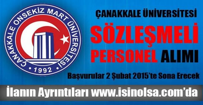 Çanakkale Üniversitesi Sözleşmeli Personel Alımı
