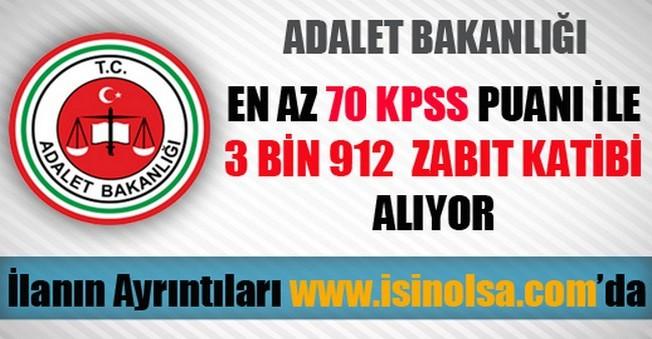 Adalet Bakanlığı 3 Bin 912 Zabıt Katibi Alımı