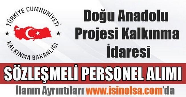 Doğu Anadolu Projesi Kalkınma İdaresi Sözleşmeli Personel Alımı