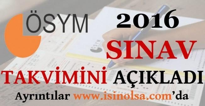 ÖSYM 2016 Sınav Takvimini Açıkladı