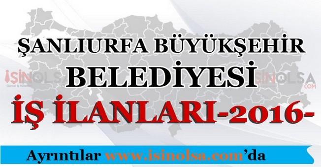 Şanlıurfa Büyükşehir Belediyesi İş İlanları 2016