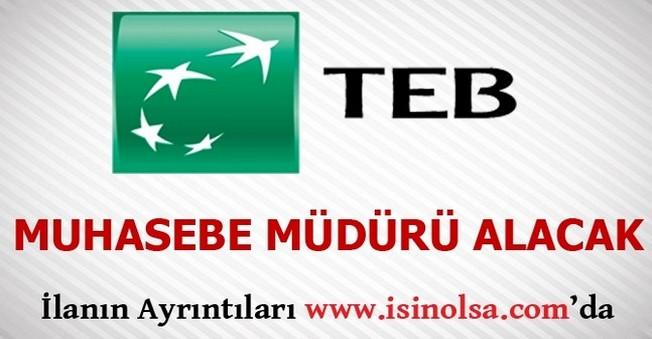 TEB Muhasebe Müdürü Alacak