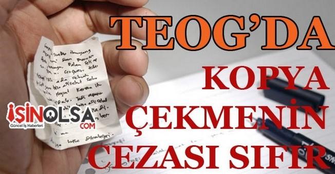 TEOG'da Kopya Çekmenin Cezası Sıfır