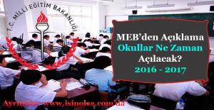 MEB Okullar Ne Zaman Açılacak? 2016 - 2017