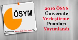 2016 ÖSYS Üniversite YerleştirmePuanları (Tavan Puan - Taban Puan ve Başarı Sıralaması)