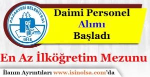 Pazaryeri Belediye Başkanlığı En Az İlköğretim Mezunu Memur Personel Alımı Yapıyor