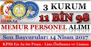 3 Devlet Kurumu 11 Bin 98 Memur Personel Alımı Yapıyor! Son Başvurular 14 Nisan 2017