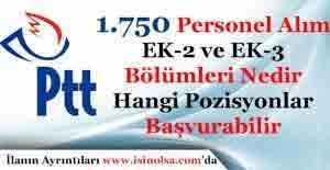 PTT Bin 750 Personel Alımı YÖK EK-2 ve EK-3 Bölümleri Hangileridir