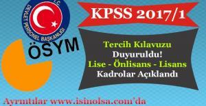 KPSS 2017/1 2.780 Memur Alımı Tercih...