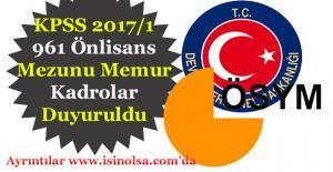 KPSS 2017/1 961 Önlisans Mezunu Memur...