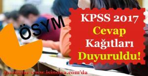 ÖSYM KPSS 2017 Cevap Kağıtları Yayımlandı!