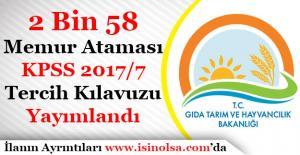 Tarım Bakanlığı 2.058 Memur Alımı KPSS 2017/7 Tercih Kılavuzu Duyuruldu!