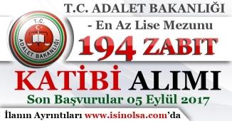 Adalet Bakanlığı 194 Sözleşmeli Zabıt Katibi Alım İlanı