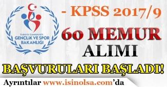 Gençlik ve Spor Bakanlığı 60 Memur Alımı Başvuruları Başladı! KPSS 2017/9