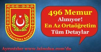 Milli Savunma Bakanlığı MSB 496 Memur Alıyor! En Az Ortaöğretim Mezunu