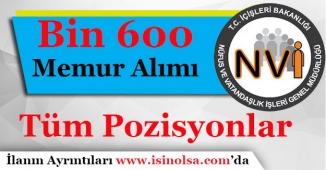 Bin 600 (1600) Nüfus Memuru Alımı Yapılacak!