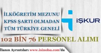 İŞKUR Tüm Türkiye Geneli Kpss Şartı Olmadan 102 Bin 76 Personel Alımı Yapacak